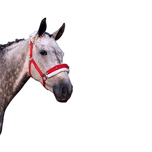 Pferd Weihnachts Halfterpolster rot mit weißem Rand aus Fellimitat und Glöckchen
