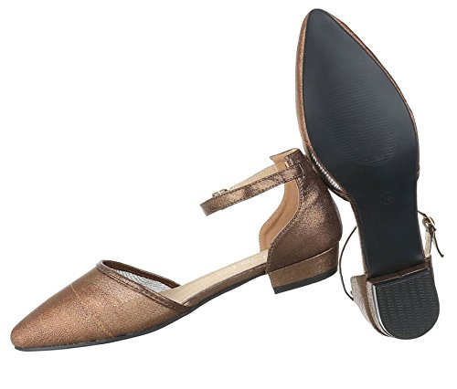 Damen Pumps Schuhe Elegant High Heels Komfort Bronze