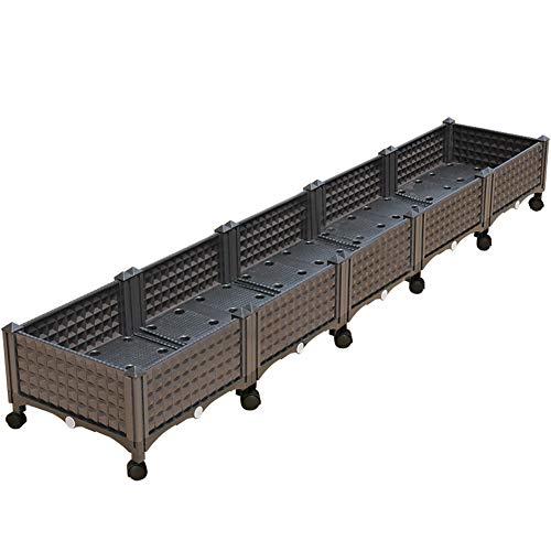 Erhöhte Garten Bett Kit, Wasserspeicher, Kältebeständig, Balkon/Garten / Dachterrasse DIY Gemüse Pflanzbox Mit Rädern,Coffee,200 * 40 * 23Cm