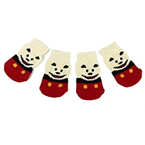 4pcs Chaussettes Anti-dérapant Motif Ours Souriant pour Chiot Petit Chien S