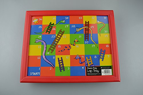 Kinder-Sitzsack Knietablett mit abwischbare Holz Oberfläche ideal für Mahlzeit Mal Snakes & Ladders