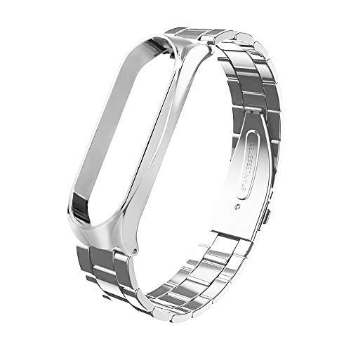 Webla Silber Hirse Armband Schnalle Solide Metall Drei Streifen Mode Edelstahl Luxus Metall Armreif Für Xiaomi Mi Band 3 (Silber)
