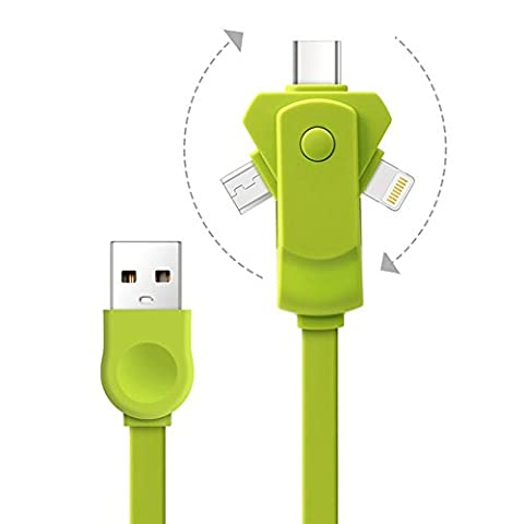 3 in 1 Lightning & Micro USB & TPYE C Charging Cable Cord for Apple (Kingston 1 Lampadina)