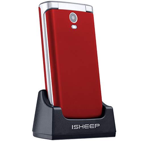 ISHEEP E9 GSM Téléphone Portable Débloqué avec Grandes Touches (Rouge)