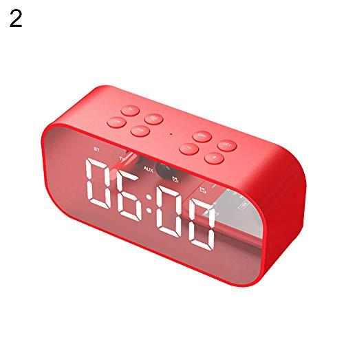 Sguan-wu Bluetooth 5.0 Wireless Lautsprecher Subwoofer Musik Wecker Laptop Phone Soundbox - Rot - Mädchen Cd-player-wecker Für