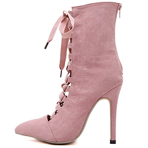 Oasap Women's Pointed Toe Lace-up front High Heels Ankle Boots pink