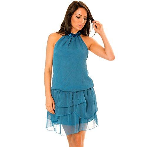 Miss Irritate Line Damen Neckholder Kleid Blau blau, Neckholder, Blau, F6/2-14547-226079