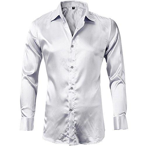 Camicia seta uomo, manica lunga, slim fit, camicia elastica e luminosa per spettacolo / party / matrimonio / commercio / cerimonia, bianco, 38(xs)