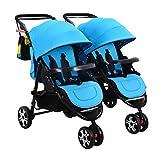 YZ-YUAN Kinderwagen Kombikinderwagen Twin Kinderwagen Abnehmbaren Doppelklappwagen Kann Sitzen und Liegen Universal Regenschutz Für Die Meisten Baby,Blue