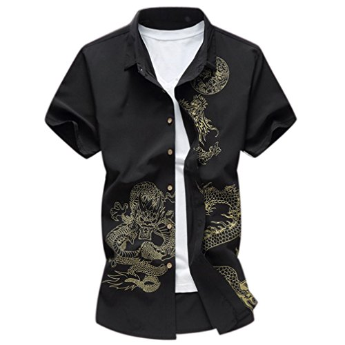 Honghu Herren Business Drachen Drucken Slim Fit Hemd kurze Ärmel Shirt Schwarz
