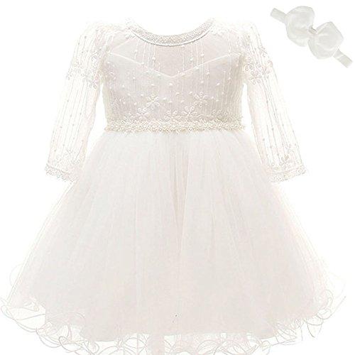 Baby Mädchen Kleid Taufe Besondere Gelegenheit lange Ärmel Weich Kleid (Baby Mädchen Besonderen Anlass Kleid)