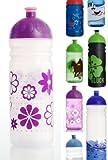 ISYbe Trinkflasche 700ml Blumen transparent/lila, schadstofffrei, spülmaschinengeeignet, auslaufsicher