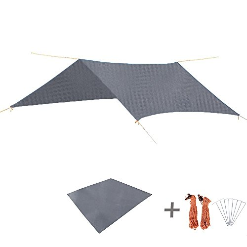 Triwonder Wasserdichte Regen Fly Hängematte Camping Shelter Zelt Tarp Fußabdruck Sonnenschirm Matte für Wandern Backpacking Strand Picknick (Grau+ Zubehör)
