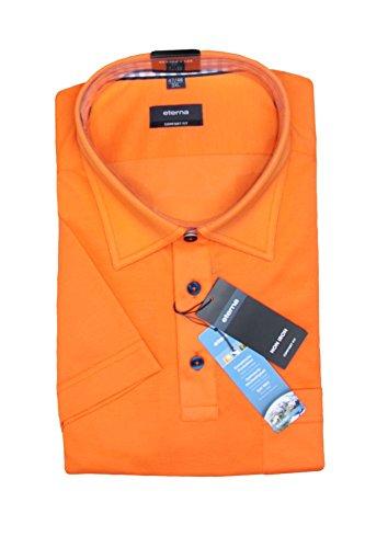 Eterna Herren Polo Shirt Kurzarmshirt Poloshirt Polohemd Hemd Kurzarm Comfort Fit Poloshirt Piqué Dunkelblau 85 orange