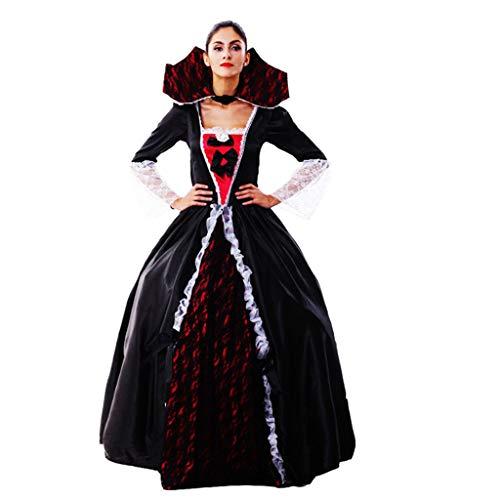 1-1 Halloween-Kostüm-Partei Schwarze Königin Kleid Klassische weibliche Vampirin Zombie Hexe Karneval Abendkleid (Klassischen Weiblichen Kostüm)