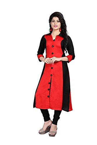 Leriya Fashion Women's Cotton Red Kurta (Fl-(K2035)_Large)