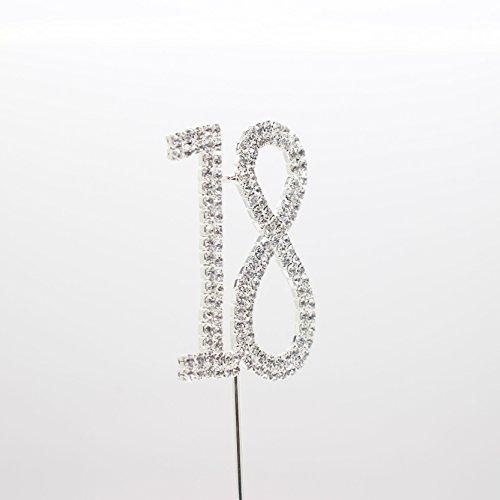 1Zahl 18Ziffer mit Metall Tortenaufsatz Kristall Strass Monogramm Hochzeit Jahrestag Geburtstag Dekoration (Strass-monogramm)