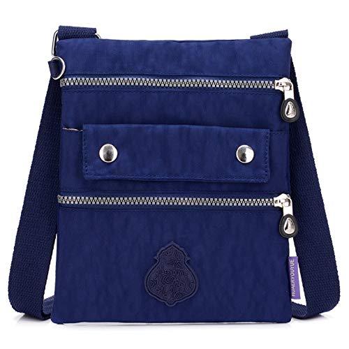 Nuova borsa femminile borsa piccola borsa a tracolla in nylon impermeabile casual moda semplice borsa di stoffa Messenger bag blu scuro