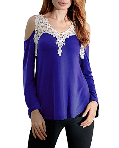ZANZEA Donne Off Shoulder in Pizzo Crochet di Manica lunga Cotone Camicetta Camicia allentati blu scuro IT 46
