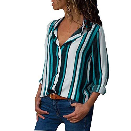 Weant Damen T-Shirt Sommer Kurzarm mit V Ausschnitt Revers Tasten Farbblock Gestreift Mode 3/4 Arm Lässige Lose Sexy Crop Mode Tunika Kurzarm Oberteil Tops Bluse Shirt - Sexy Arme