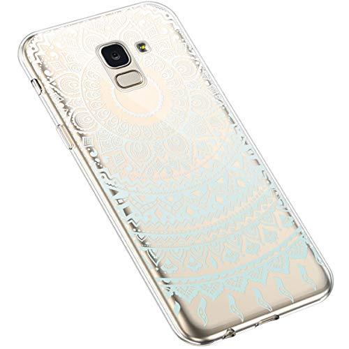 Uposao Kompatibel mit Samsung Galaxy J6 2018 Silikon Handyhülle Durchsichtig TPU Schutzhülle Transparent Blumen Muster Etui Ultra Dünn Weiche Crystal Clear Tasche Case,Mandala Blau Weiß