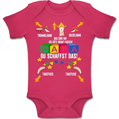 Shirtracer Strampler Motive - Papa du schaffst das Lama - 1-3 Monate - Fuchsia - BZ10 - Baby Body Kurzarm Jungen Mädchen