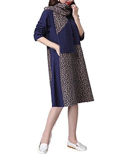 ZANZEA Damen Vintage Floral Cotton Linen Boho Splice Lose Baggy Maxi Lang Kleider Marine(mit schal)