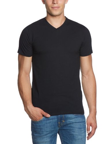 SELECTED HOMME Herren T-Shirt 16034243 Pima ss v-neck, Gr. 48 (S), Schwarz (Black)