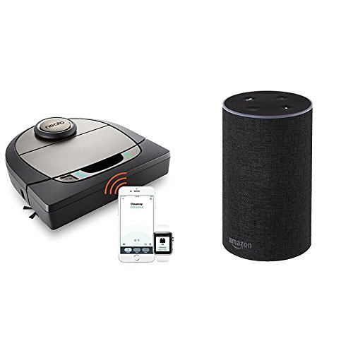 Preisvergleich Produktbild Das neue Amazon Echo (2. Generation), Anthrazit Stoff + Neato Robotics Botvac D7 Connected - Premium Saugroboter mit Ladestation, Wlan & App
