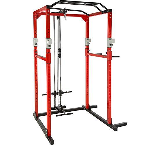 TecTake Kraftstation Fitnessstation Power Rack Power Cage | Klimmzug-Doppelstange | Robuster Rahmen aus Stahlrohr Modelle (Rot Schwarz mit Latzug | Nr. 402738)