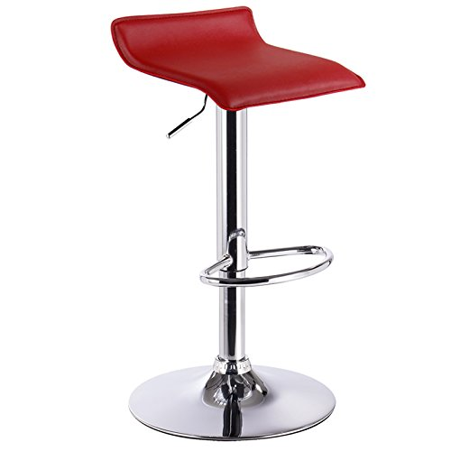 Woltu bh11bd-1 1x sgabelli da bar sedia cucina con poggiapiedi similpelle cromato altezza regolabile girevole moderni classici bordeaux
