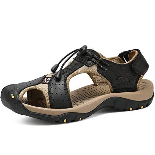 Outdoor Casual Sport Trekking Schuhe Ledersandalen Atmungsaktive Sport Sandalen(Schwarz,38) ()