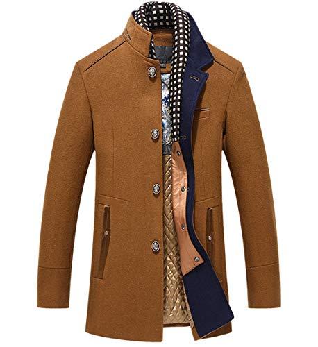 INVACHI Herren Winter Wollmantel Kurzmantel mit Herausnehmbarem Schal-Einsatz Freizeit Kurzer Wollmantel