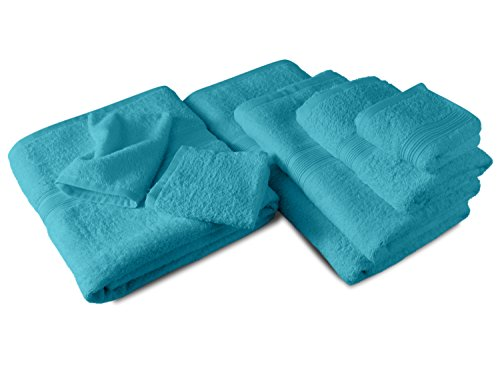 Packs zum Sparpreis - solide Frottiertücher - erhältlich in 18 modernen Farben und 8 verschiedenen Größen, 10er Pack Waschhandschuhe (15 x 21 cm), türkis (Waschlappen Pack)