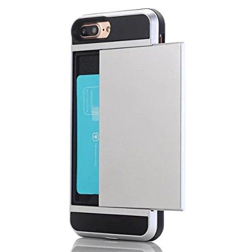 iPhone 7 Plus Coque,Lantier [Doux TPU Bumper+dur PC] résistant aux chocs à double couche Armure Wallet Etui de protection Defender avec porte-cartes pour Apple iPhone 7 Plus Vert Silver
