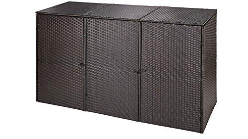 baumarkt direkt Mülltonnenbox, für 3×120 l aus Polyrattan, B/T/H: 189/66/109 cm braun