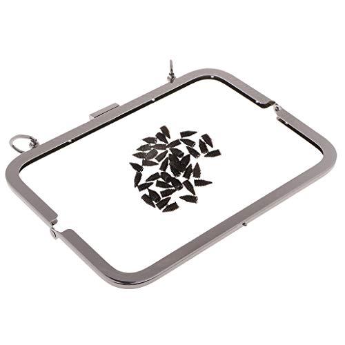 perfk Metall Taschen Geldbörse Rahmen Taschenverschluss Taschengriff Clip Taschenbügel Beutel Verschluss 21x8cm - Grau schwarz -