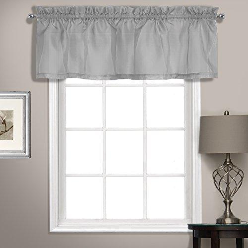 United Vorhang Sheer Voile gerade Querbehang, silber, 142,2x 35,6cm - Fenster Behandlungen Topper