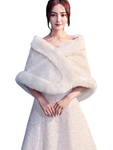 Insun Donne Scialle Faux Fur dello scialle di Bolero Lady regalo Mantella Coprispalle avorio 2