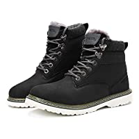 Camfosy Men Winter Boots,Work Boots Ankle Fur Lined Snow Boots Chukka Leather High-top Sneakers Warm Short Boots Resistant Climbing Booties Lace Up Outdoor Hiking Trekking Shoes Black 8 UK
