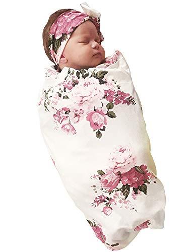 Baby Baby Mädchen Coming Home Outfit rosa Blumen Print Puckdecke mit Stirnband 2 Stück Set
