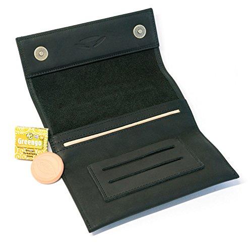 Double Tasche (COMARI Tabaktasche aus Leder | Double-Paper- & Filterfach | Magnetverschluss | gratis Greengo Tabakbefeuchter (Schwarz))