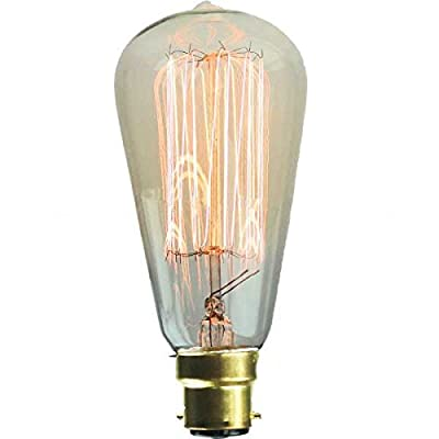 Vintage Squrrel Cage Edison Lightbulb 240v 60w B22D Bayonet Dimmable - Swan Lighting