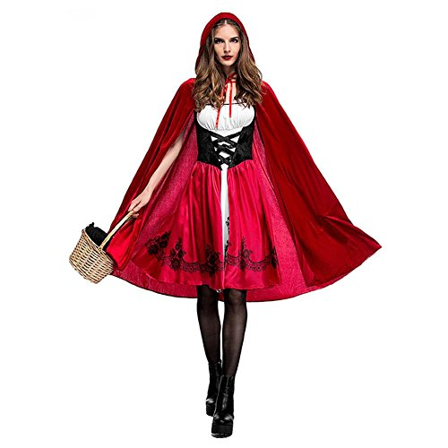 Damen Rotkäppchen Kleid,Classic Rotkäppchen Weihnachten Party,Rollenspiel Kostüm für Halloween Christmas Party, Kleid und Mantel (Red Riding Hood Kostüm Damen)