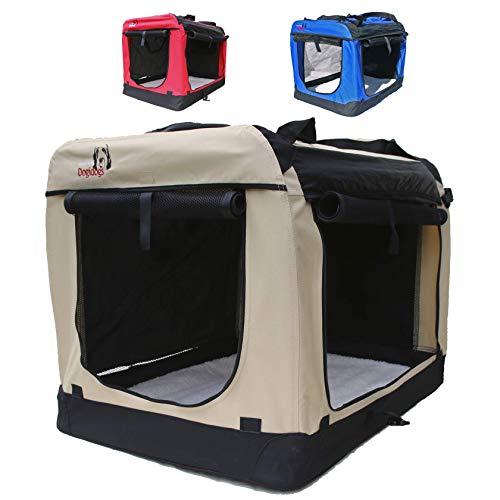 Hundetransportbox faltbar Transportbox für Hunde Hundebox Auto - Dogi Kennel - 6 Größen - 3 Farben (L (70 x 52 x 52 cm), Beige)