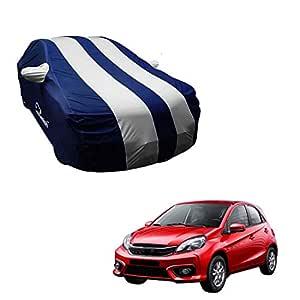Autofurnish Silver Stripe Car Body Cover Compatible with Honda Brio - Arc Blue