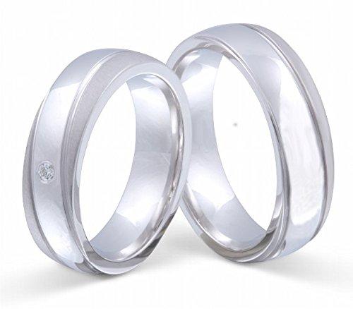 Partner-Ringe 2 Partnerringe massiv 925er Sterling Silber 1 Zirkonia weiss -gratis Gravur S-AH-HD