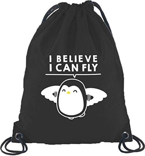Lustiger Turnbeutel Rucksack Sport Beutel I Believe I Can Fly Schwarz