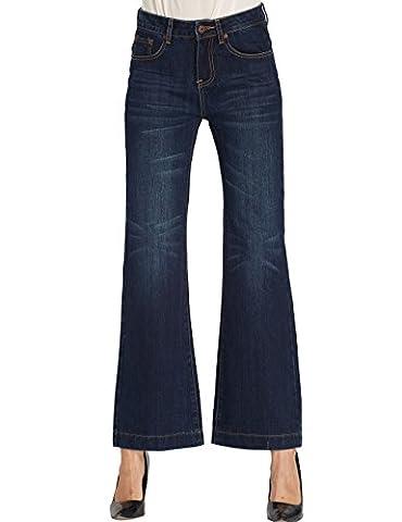 Camii Mia Jeans Femme Pantalon Denim Évasé Flare Jambe Large