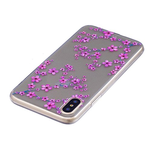 "Coque pour Apple iPhone X , IJIA Transparent Cheval TPU Doux Silicone Bumper Case Cover Shell Housse Etui pour Apple iPhone X (5.8"") FD8"